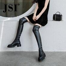 JSI Women Boots Over The Knee Round Toe Square Heel Med Heel