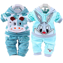 Kids Clothes Autumn Winter Baby Boy Clothes Sets Children Clothing Sets Baby Girls Sport Suit T-shirt+PantsKeep warm Outfit Suit cheap XJYIYUANLC Casual Cotton Worsted Regular Hooded Unisex Coat Velvet cotton Fits true to size take your normal size Full