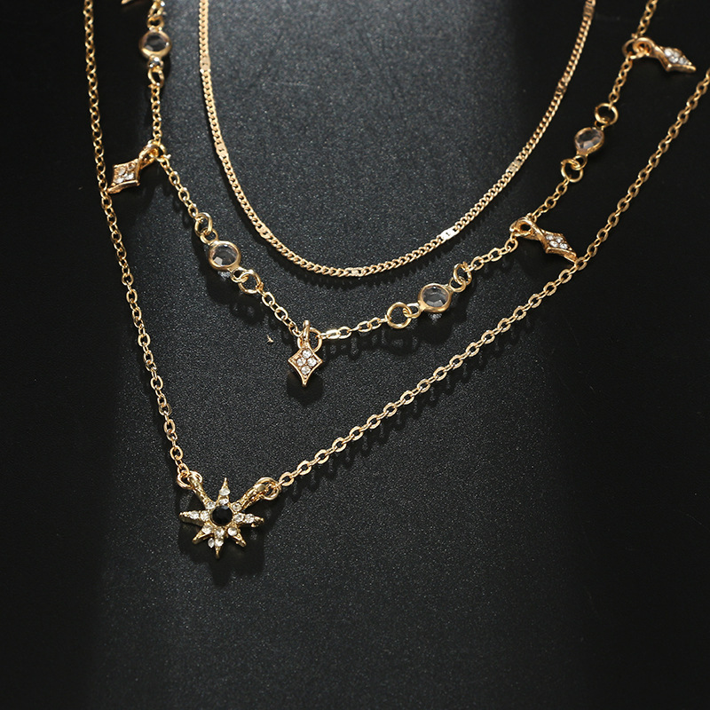 Laramoi Women's Necklace Multilayered Golden Clavicle Chain Stars Geometric Rhinestone Pendant Party Jewelry 5