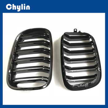 L+R Gloss Black Double Slat Kidney Grille Front Grill For BMW X5 X6 E70 E71 2007-2013 Car Styling Racing Grills image