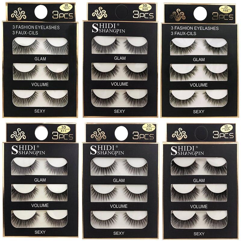 SHIDISHANGPIN 3 Pairs Natural False Eyelashes Fake Lashes Long Makeup 3d Mink Lashes Eyelash Extension Mink Eyelashes For Beauty