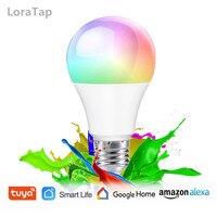 Tuya Smart Life-Control por voz con WiFi, Bombilla LED RGB regulable, E27, asistente de Google Alexa, 2,4G, temporizador