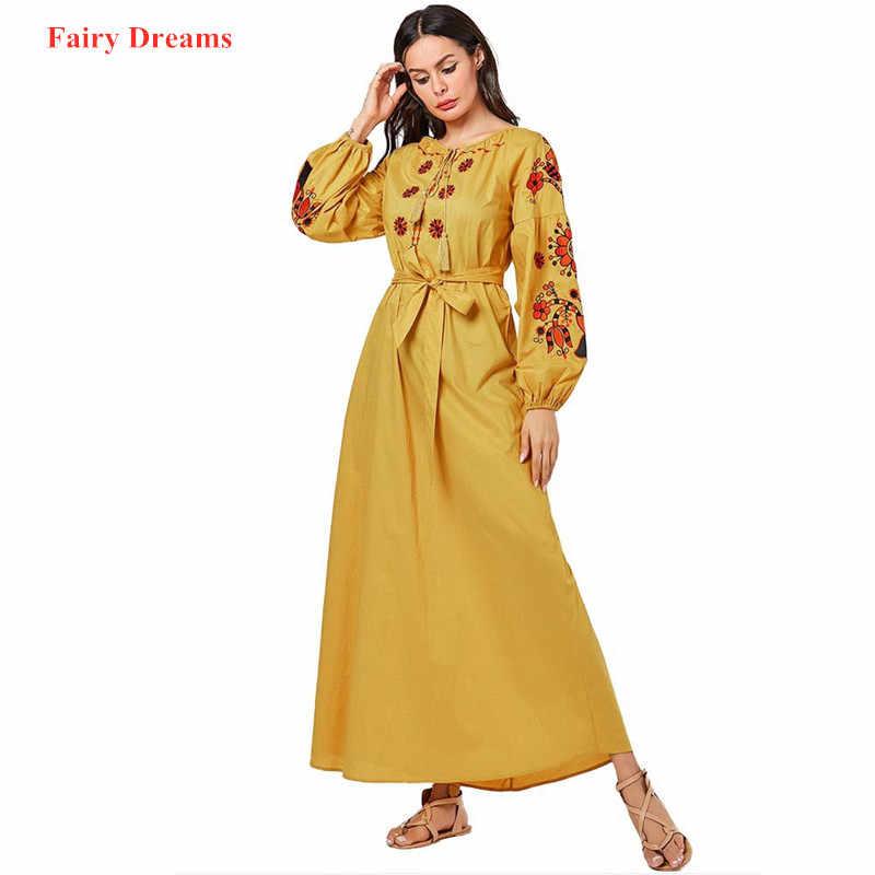 붕대 이슬람 드레스 여성 자수 두바이 abaya 터키 터키어 caftan 플러스 크기 kaftan 이슬람 의류 노란색 방글라데시 가운