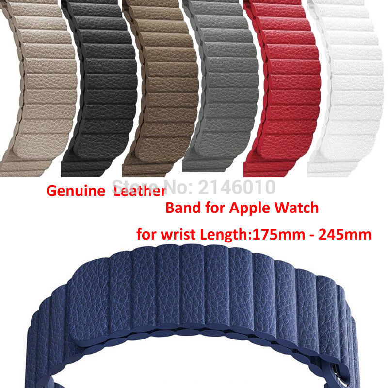 Replacement Genuine Leather Magnetic Closure Loop Watch Band Wristband Strap For Apple Watch 40mm/44mm/38/42MM Series 5 4/1/2/3