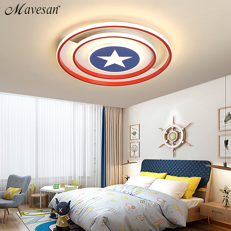 New ModernRed/Blue Stars Led Ceiling Lights Lamp For Child Bedroom Study Room Babyroom Remote Control Cartoon Designer Lamparas