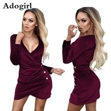 Adogirl Velet Cascading Draped Asymmetrical Mini Dress Warp V Neck Long Sleeve Spring Dress Women Sexy Button Embellished Dress недорого