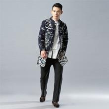 Зимняя Новинка, стильные Бархатные Топы с драконом из хлопка и льна, Мужская одежда, хлопковая стеганая куртка с принтом, бархатная одежда средней длины