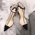 Livraison gratuite mode noir satin strass cristal t sangle talons hauts chaussures pompes femmes chaussures 12cm 10cm 8cm