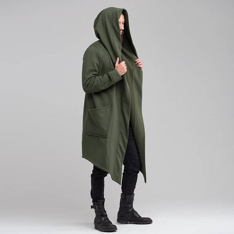 2020 New Men Hooded Sweatshirts Jacket Long Cardigan Cloak Coat Sweater Hoodie Mens Coats Hip Hop Mantle Hoodies Autumn Winter 1