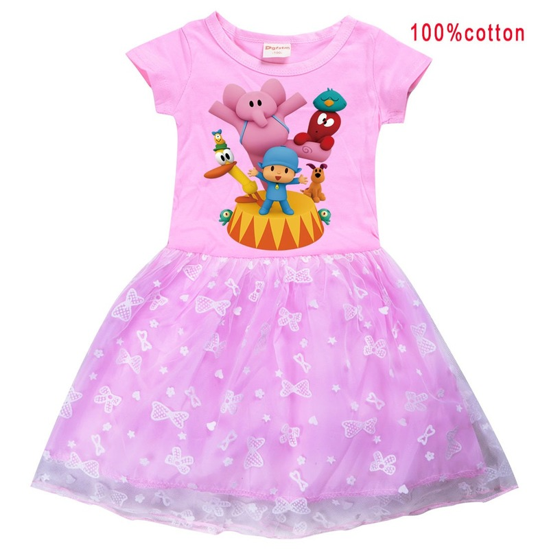 2021 summer T shirt Dress POCOYOE Girls Tutu Dress Halloween Cosplay Costume Princess Kids Girls Birthday Party Dresses