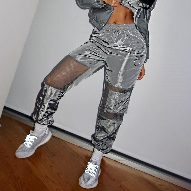 Newest Listing Gray Mesh Panelled Fashion Women Cargo Pants With Pockets Elasitc Middle Waist Cool Long Pencil Pants Trousers