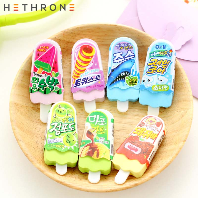 Hethrone 4Pcs Creative Ice Cream Shape Pencil Eraser Gustless Cartoon Cute Stationery Erasers Durable Flexible Rubber Gift For K