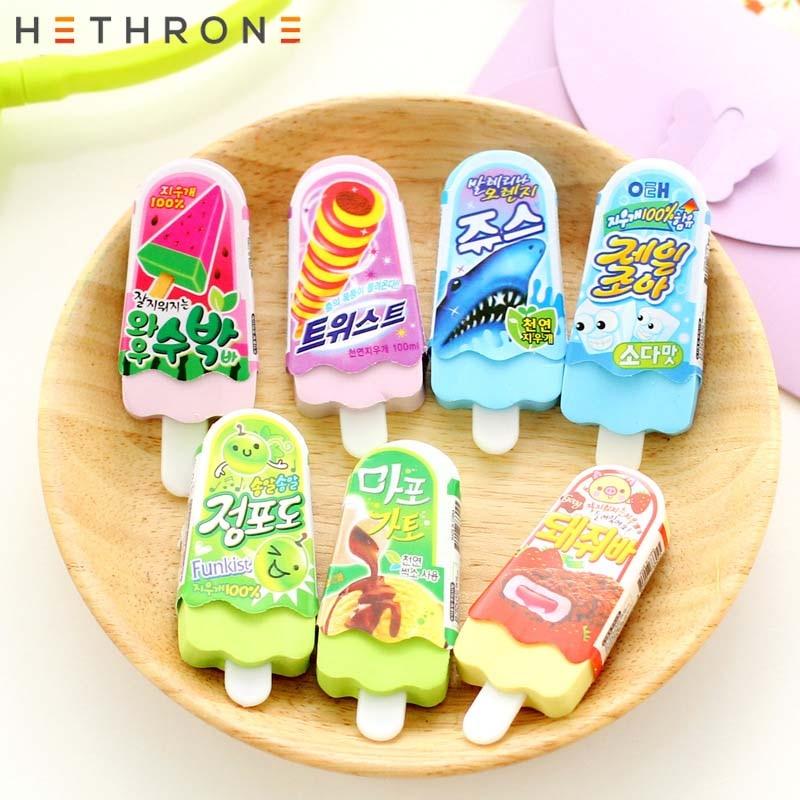 Hethrone 4Pcs Creative Ice cream shape Pencil Eraser gustless Cartoon Cute stationery erasers Durable Flexible Rubber Gift for k