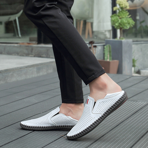 Image 5 - Valstone Hot sale Mens Summer Mocassins 2020 Leather loafers Slip on soft casual shoes comfortable drive flats White breathable