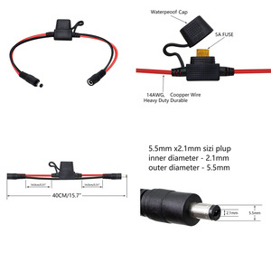 Image 5 - CCTV DC 5.5mm x 2.1mm Male to Female Power Cable with 5A Fuse for LED Strip Surveillance Camera Security Equipment 40cm 14AWG