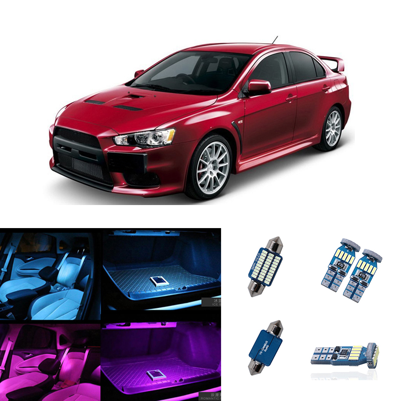 6pcs <font><b>LED</b></font> Light Car White Interior Kits Car-Styling Dome Map Trunk Lamp For <font><b>Mitsubishi</b></font> <font><b>Lancer</b></font> or Evolution <font><b>X</b></font> 2008- 2010 2011 2012 image