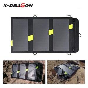 Image 3 - X DRAGON cargador de Panel Solar de 20W, cargador de batería Solar portátil, tecnología para iPhone, ipad, teléfonos Android, senderismo y aire libre