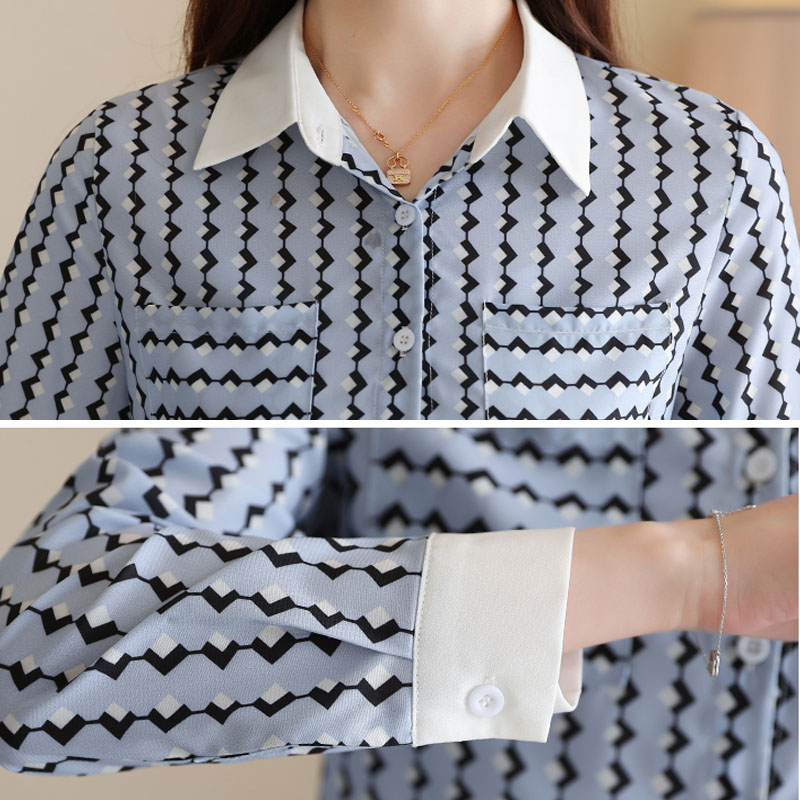 Striped Turn-down Collar Blouses 5