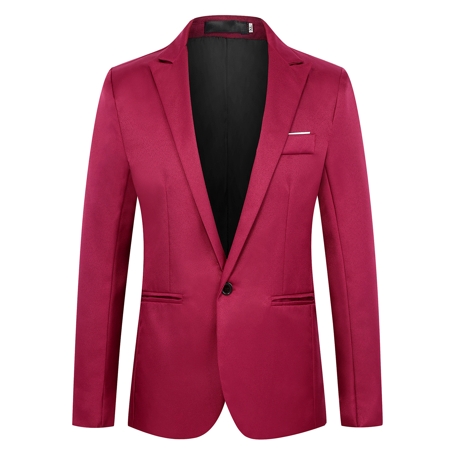 2019 Men Fashion Slim Fit Suit Korean-style Closure Collar One-Button Casual Simple Youth Small Suit