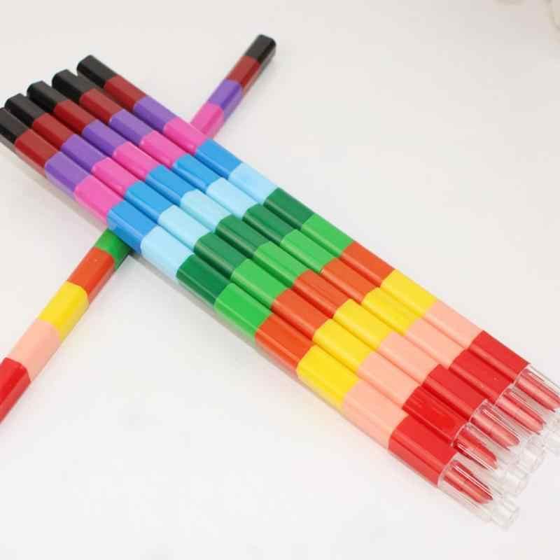 ใหม่ 1 ชุดสีสันสดใส 12 สีน้ำมันสีปากกา Craton Stacker ดินสอปากกาสำหรับเด็ก Pastel เด็กดินสอสี Art ของขวัญปาย O4C4