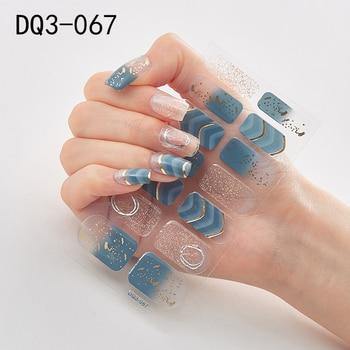 14pcs/sheet Glitter Gradient Color Nail Stickers Nail Wraps Full Cover Nail Polish Sticker DIY Self-Adhesive Nail Art Decoration 19