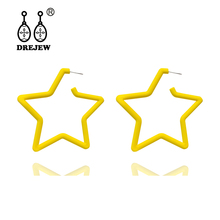 DREJEW Blue Yellow Pink White Big Star Acrylic Statement Earrings 2019 925 Alloy Drop for Women Fashion Jewelry HE9051