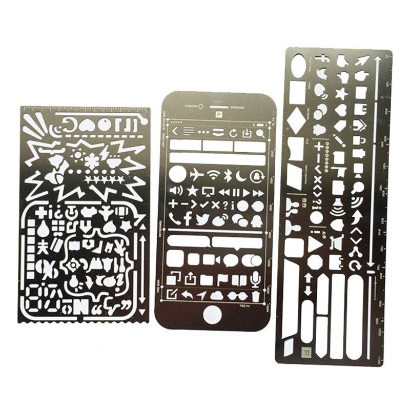 Multifunctional Stainless Steel Hollow Ruler Geometric Figure Drawing Stencils Templates Metal Ruler Diy Tool Diary Template