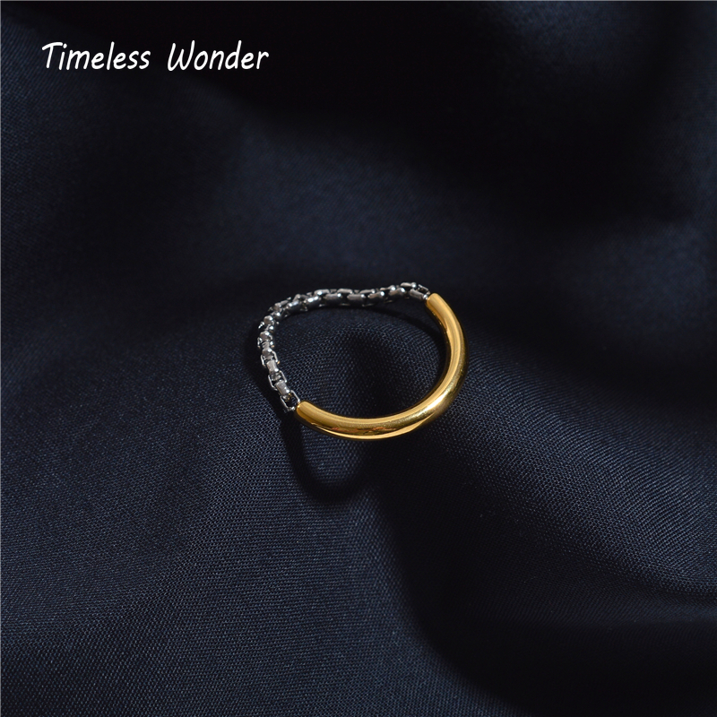 Timeless Wonder Titanium Soft Box Chain 2 Tone Rings Women Stainless Steel Jewelry Boho Ins Designer Top Kpop Rare Trendy 4245