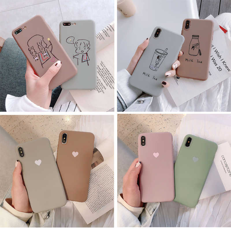 Tpu Telefoon Geval Voor Iphone Xr Xs Max 7 8 6 6S Plus Se 2020 Hart Patroon Cartoon Melk thee Cover Voor Iphone 11 Pro Shell Fundas