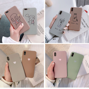 Перейти на Алиэкспресс и купить Чехол для телефона из ТПУ для iPhone XR XS Max 7 8 6 6S Plus SE 2020 с рисунком сердца из мультфильма «молочный чай», чехол для iPhone 11 Pro, чехлы