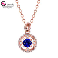 Fashion Silver Zirconia Pendant Women Necklaces Rose Gold HipHop Female Jewelry Hollow Pendants Chain Statement Necklace Blue CZ