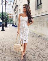 SERMENT Free Shipping 2019 Formal Party Lace Sexy Sling Ivory White Dress Pencil Skirt Tight fitting Slim Evening Dress