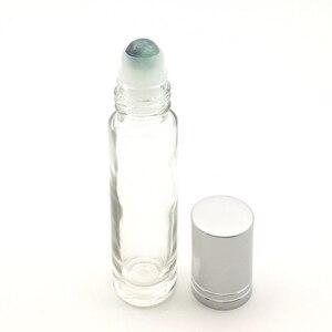 Image 4 - 10 adet doğal taş silindir topu 10ml uçucu yağ rulo kalın cam şişe kristal cips şişe