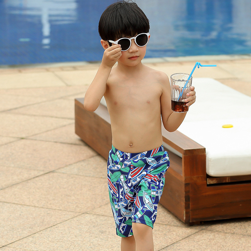 CHILDREN'S Swimming Trunks Middle And Large BOY'S Little Boy South Korea Cartoon Swimming Trunks Beach Shorts Shorts Send Swimmi