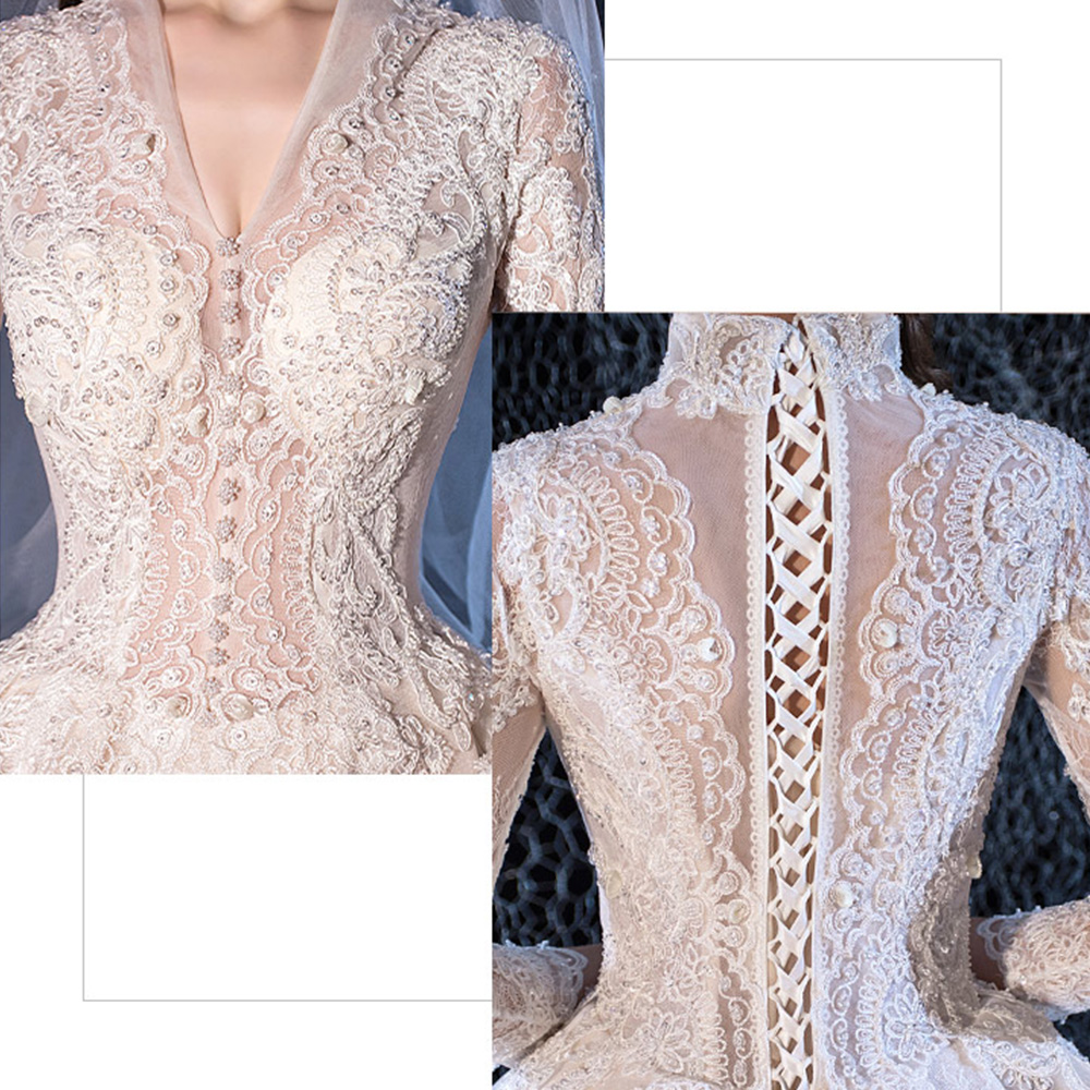 Image 5 - Beading Sequined Appliques Lace V neck Long Sleeve Gorgeous Ball Gown Wedding Dress With 1.5m Picture Chapel Train  ChinaWedding Dresses   -