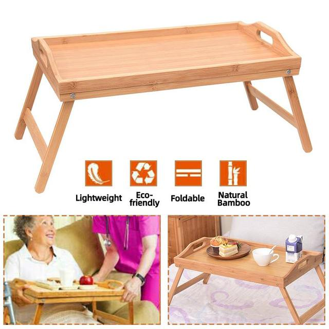 Wooden Portable Foldable Computer Laptop Desk Adjustable Notebook Desk Table Bed Sofa Breakfast Tray Picnic Table Studying Table 2