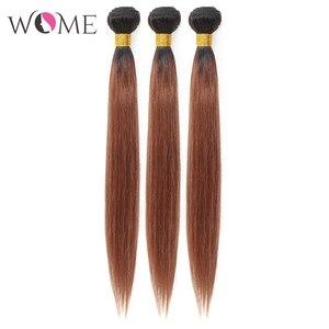 Image 5 - Kadın ön renkli saç demetleri brezilyalı düz saç gölgeli insan saçı demetleri 1b/99j 1b/27 1b/30 iki tonlu Ombre olmayan remy saç