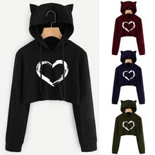Vogue Girls Hoody Sweatshirts Womens Cat Ear Hoodie Drawstring Long Sleeve Pullover Tops Casual Oversized Tracksuit Sportswear(China)
