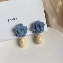 MENGJIQIAO-Pendientes colgantes de flor esponjosa azul para mujer, aretes de gota de agua acrílica, joyería elegante de invierno, gran oferta