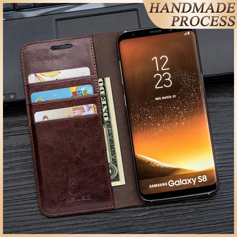 Θήκη για S10e S9 + S8 Plus Musubo Luxury Leather Flip Cover για Samsung Galaxy Note 10 Plus 9 Note 8 Θήκες πορτοφόλι τηλέφωνο τσάντα funda