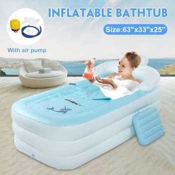 Bañera plegable portátil para adultos, bañera Inflable, Sauna, Jacuzzi, bañera de hidromasaje hinchable, bañera de baño de viaje con bomba de aire
