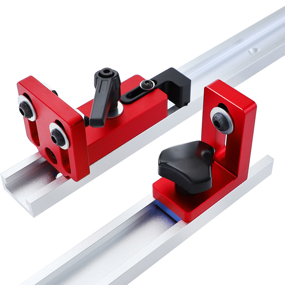 T-Slot Miter Track Stop Sliding Miter Gauge Fence Connector Woodworking Miter Track Stop Rail Retainer Chute Locator