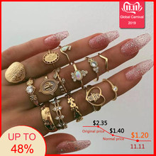 Tocona 15 Pcs/set Boho Rings for Women Fashion Heart Fatima Hands Anillos Virgin Mary Cross Leaf Geometric Kольцо Jewelry 7056(China)