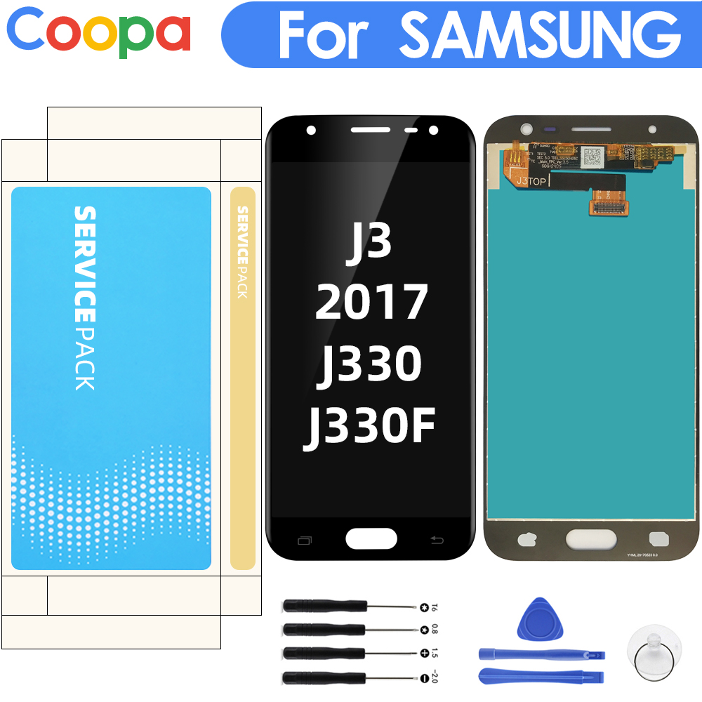AMOLED For Samsung Galaxy J3 2017 J330 J330F LCD Display Touch Screen Digitizer Replacement Assembly With Brightness Control
