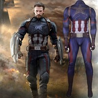 Captain America Cosplay Costume Zentai Superhero Bodysuit Unisex Tight Spandex Jumpsuits Halloween Costumes For Adults and Kids