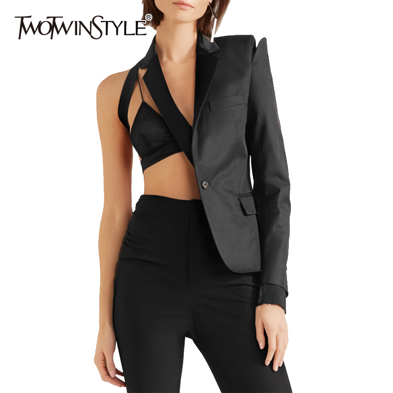TWOTWINSTYLE Elegant Patchwork Irregular Women's Blazer Notched Long Sleeve Hollow Out Sexy Suits Female 2020 Clothes Summer New