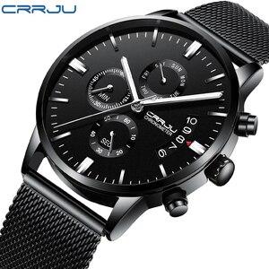 Мужские деловые часы CRRJU, модные повседневные кварцевые наручные часы из сетчатой стали, мужские часы простого дизайна, мужские часы