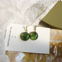 Simple earrings vintage green round drop temperament plalting gold women fashion jewelry female gift