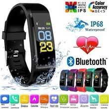 Klw bluetooth relógio tela colorida banda inteligente à prova dwaterproof água freqüência cardíaca monitor de pressão arterial pulseira