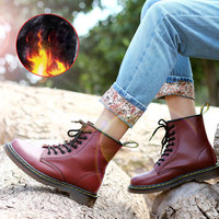 NKAVQI Women Winter Plush Warm Snow Boots Women Quality Leather Ankle Martin Boots For Female Winter Shoes Botas Mujer Woman